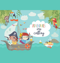 Cute pirates sailing in their ship vector
