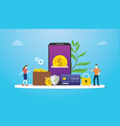 e-wallet technology payment concept with team vector image