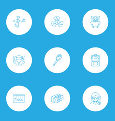 education icons line style set with magnifying vector image