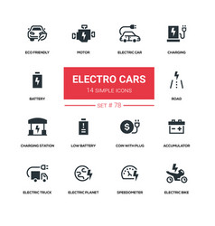 Electro cars - line design silhouette icons set vector