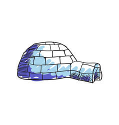 eskimo igloo hand drawn isolated icon vector image