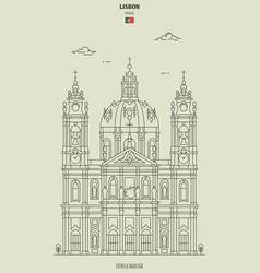 estrela basilica in lisbon portugal vector image