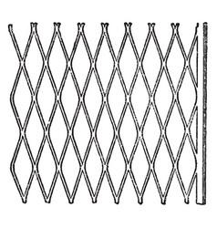 expanded metal metallic lath vintage engraving vector image