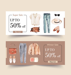 Fashion banner design with shirt pants shoes vector