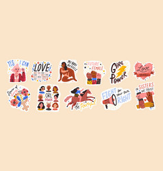 Feminist and body positive stickers set vector