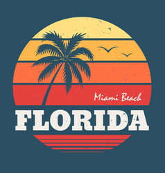 Florida miami beach tee print vector