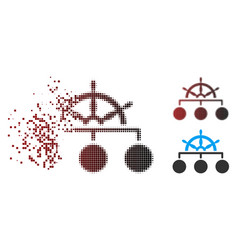 fragmented pixel halftone ship wheel hierarchy vector image