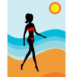 Girl on a beach vector