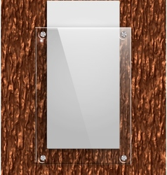 Glass plate on the bark of a tree with white paper vector