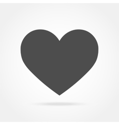gray heart icon with shadow vector image