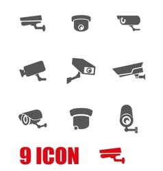 Grey security camera icon set vector