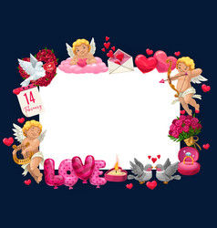 happy valentines day love hearts and cupids frame vector image