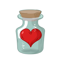 Heart in jar love in flask amur in confinement of vector