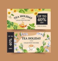 Herbal tea voucher design with parsley vector