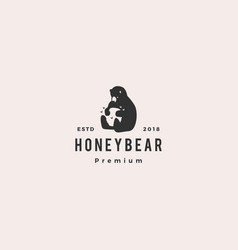 honey bear logo hipster retro vintage icon label vector image