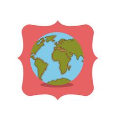 Isolated planet sphere inside frame design vector