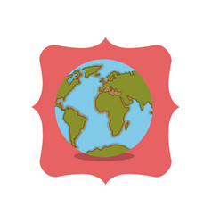 isolated planet sphere inside frame design vector image