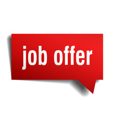 Job offer red 3d speech bubble vector