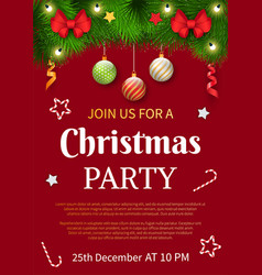join us for christmas party on 25th december vector image