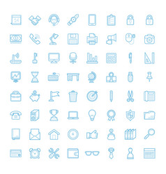 Liner office equipment icons vector