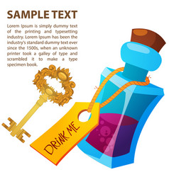 magical elixir and golden key in a glass bottle vector image