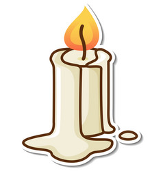 Melting candle sticker on white background vector