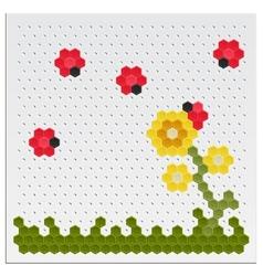 Mosaic Flowers and Ladybird vector