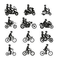 motorcycles and bicycles icons moto vehicles vector image