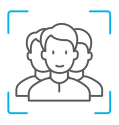 Multi face id thin line icon face recognition vector