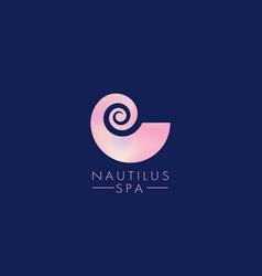 nautilus spiral spa logo vector image