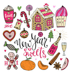new year sweets set christmas hand drawn bright vector image