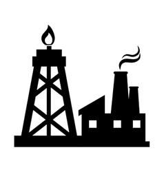 oil rig tower and factory vector image