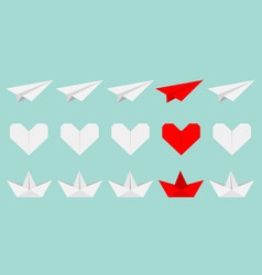 origami paper plane boat ship heart icon set vector image