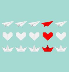 Origami paper plane boat ship heart icon set vector