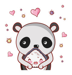 Panda bear and food kawaii vector