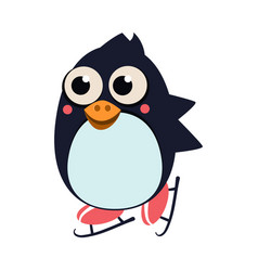penguin skating on ice vector image