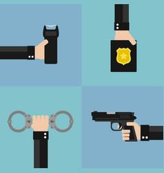 Police modern design flat set vector