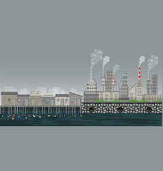 pollution environment plant pipe dirty waste air vector image