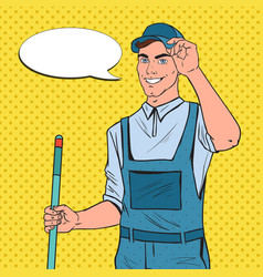 pop art cleaner in uniform with mop cleaning vector image