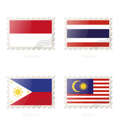 Postage stamp with image indonesia vector