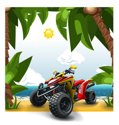 Quad bike on a beach vector