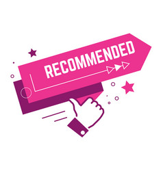 recommended thumb up pink banner with stars vector image