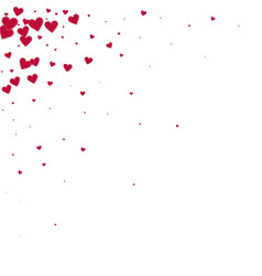 Red heart love confettis valentines day corner b vector
