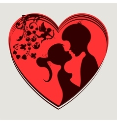 Red hearttwo lovers vector