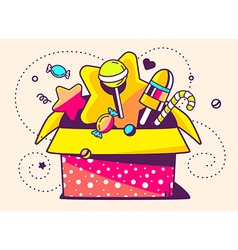 Red open gift box and sweets on light bac vector