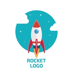 Rocket logo one vector image