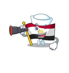 Sailor with binocular flag egypt folded in mascot vector