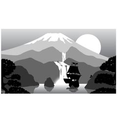 scenery of evening at mountains vector image