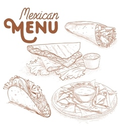 Scetch of mexican food vector