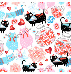 seamless holiday pattern loving cats and hearts vector image
